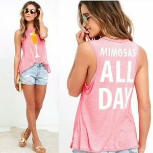 """Chaser """"Mimosas All Day"""" Burn Out Tank Top XS"""